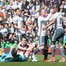 BURNLEY, ENGLAND - APRIL 23: Anthony Martial of Manchester United celebrates scoring their first goal during the Premier League match between Burnley and Manchester United at Turf Moor on April 23, 2017 in Burnley, England. (Photo by Matthew Peters/Man Utd via Getty Images)