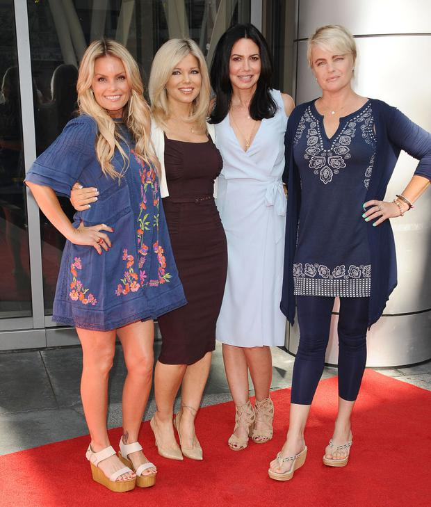 LOS ANGELES, CA - APRIL 22: (L-R) Actresses Kelly Packard, Donna D'Errico, Nancy Valen, and Erika Eleniak attend the