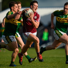 15 April 2017; Eoin Finnerty of Galway in action against Brian Ó Beaglaoich, left, and Andrew Barry of Kerry during the EirGrid GAA Football All-Ireland U21 Championship Semi-Final match between Galway and Kerry at Cusack Park in Ennis, Co Clare. Photo by Ray McManus/Sportsfile