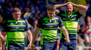 23 April 2017; Leinster players look dejected after a ASM Clermont Auvergne try during the European Rugby Champions Cup Semi-Final match between ASM Clermont Auvergne and Leinster at Matmut Stadium de Gerland in Lyon, France. Photo by Roberto Bregani /Sportsfile