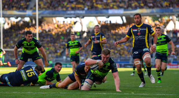 23 April 2017; Dan Leavy of Leinster scores a try which was subsequently disallowed during the European Rugby Champions Cup Semi-Final match between ASM Clermont Auvergne and Leinster at Matmut Stadium de Gerland in Lyon, France. Photo by Stephen McCarthy/Sportsfile
