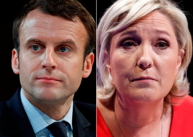 A combination picture shows portraits of the candidates who will run in the second round in the 2017 French presidential election
