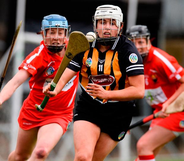Kilkenny's Miriam Walsh in action against Cork's Rena Buckley during the Littlewoods Ireland Camogie League Division 1 Final. Photo: Diarmuid Greene/Sportsfile