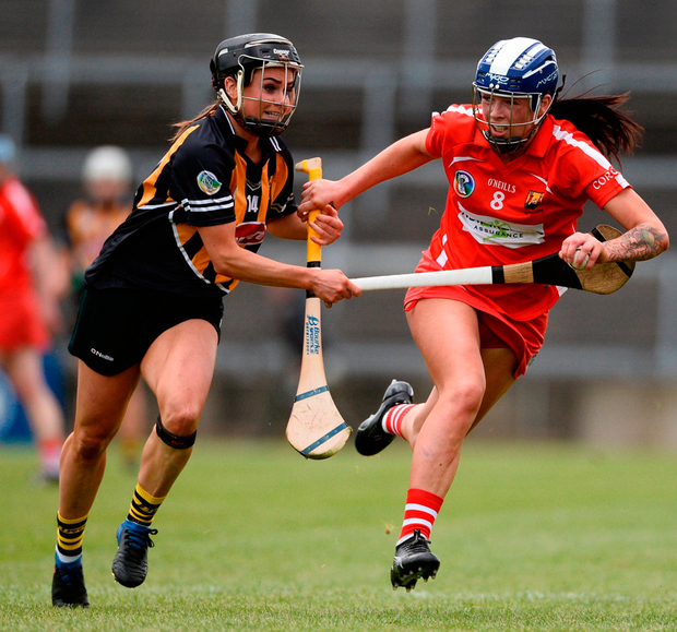 Cork's Aisling Thomson battles with Kilkenny's Katie Power during the Littlewoods Ireland Camogie League Division 1 Final. Photo: Diarmuid Greene/Sportsfile