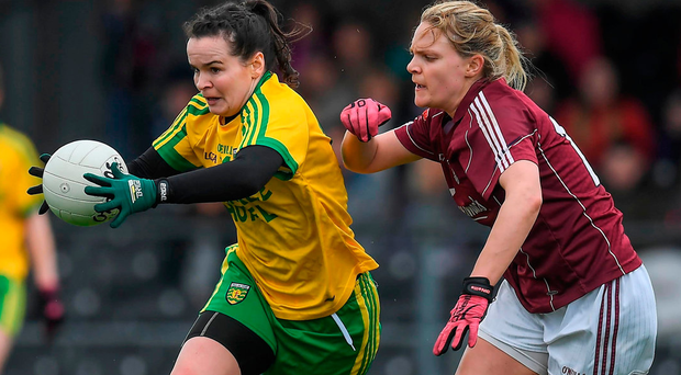 Donegal's Geraldine McLaughlin in action against Galway's Barbara Hannon during their Lidl Ladies Football National League Division 1 semi-final. Photo: Brendan Moran/Sportsfile