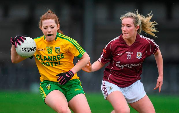 Donegal's Shannon McGruddy in action against Megan Glynn of Galway during their Lidl Ladies Football National League Division 1 semi-final match. Photo: Brendan Moran/Sportsfile