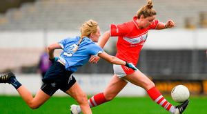 Cork's Eimear Scally in action against Fiona Hudson of Dublin during their Lidl Ladies Football National League Division 1 Semi-Final match. Photo: Ray McManus/Sportsfile