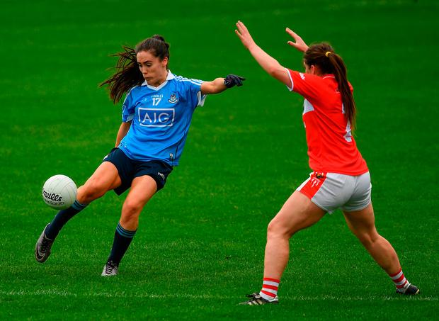 Dublin's Hannah O'Neill in action against Marie Ambrose of Cork during their Lidl Ladies Football National League Division 1 Semi-Final. Photo: Ray McManus/Sportsfile