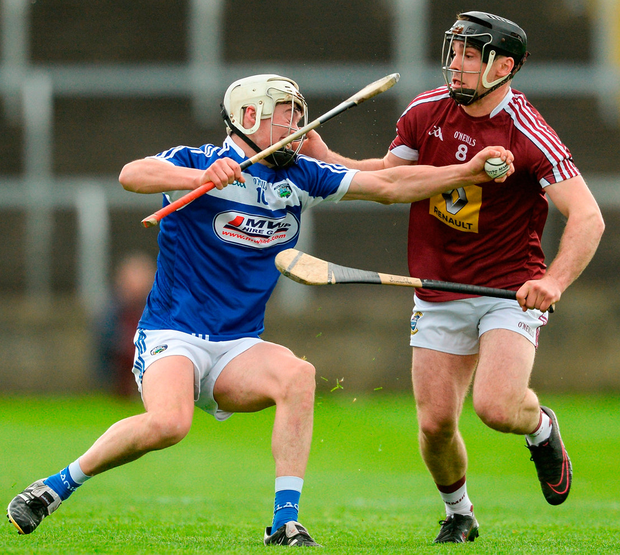 Cian Taylor of Laois in action against Aonghus Clarke of Westmeath during the Leinster GAA Hurling Senior Championship Qualifier Group Round 1 match. Photo: Piaras Ó Mídheach/Sportsfile