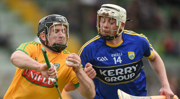 Meath's Joe Keenan of Meath in action against Shane Nolan of Kerry during the Leinster GAA Hurling Senior Championship Qualifier Group Round 1 match. Photo: Matt Browne/Sportsfile