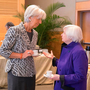 International Monetary Fund managing director Christine Lagarde, left, talks to US Federal Reserve Chairwoman Janet Yellen at the IMF Headquarters in Washington, DC. Photo: Getty