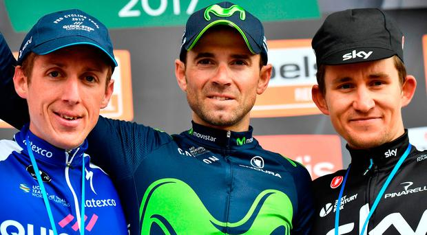 Ireland's Dan Martin (left) alongside winner Alejandro Valverde and third placed Michal Kwiatkowski after yesterday's Liege-Bastogne-Liege race. Photo: AFP/Getty Images