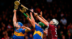 Daithí Burke (No. 3) and Adrian Ó Tuathaig of Galway in action against John McGrath (left) and Noel McGrath of Tipperary during yesterday's Allianz NHL final at the Gaelic Grounds. Photo: Ray McManus/Sportsfile