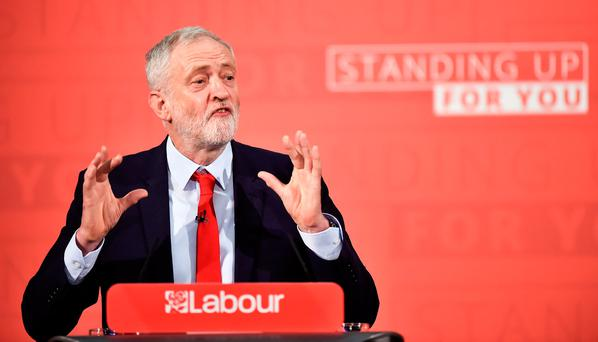 Britain's opposition Labour Party leader Jeremy Corbyn gives a speech in central London. Photo: REUTERS/Hannah Mckay
