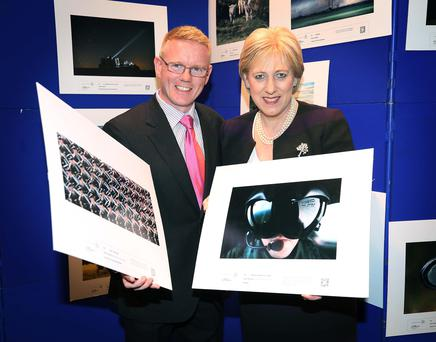 Press Photographer of the Year Gerry Mooney, of Independent News & Media, and Minister Heather Humphreys TD Picture: PPAI