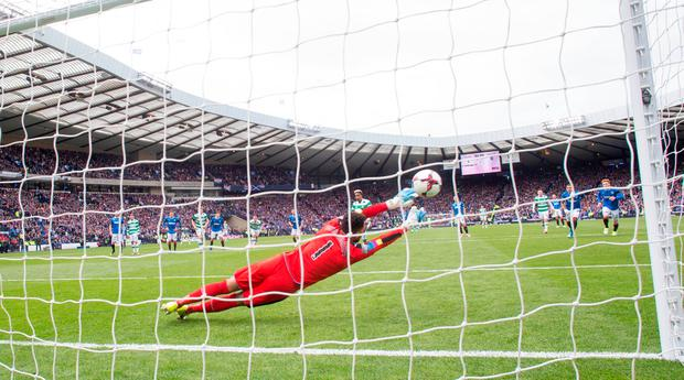 Celtic's Scott Sinclair scores his side's second goal of the game from the penalty spot. Photo: PA
