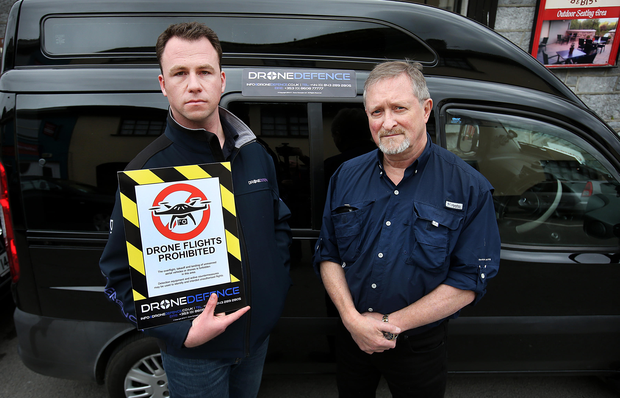 Richard Gill and Liam Brady of Drone Defence. Photo: Steve Humphreys