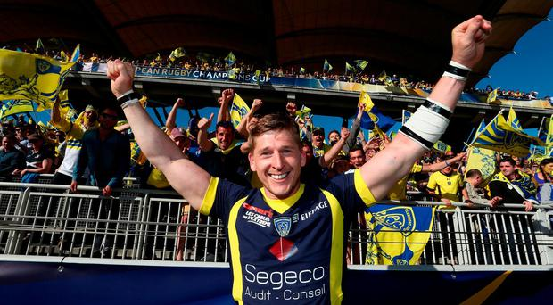 David Strettle celebrates after their victory during the European Rugby Champions Cup semi final match between ASM Clermont Auvergne and Leinster at Matmut Stadium de Gerland yesterday