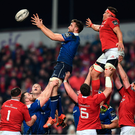 26 December 2016; Jack Conan of Leinster takes possession in a lineout ahead of CJ Stander of Munster during the Guinness PRO12 Round 11 match between Munster and Leinster at Thomond Park in Limerick. Photo by Stephen McCarthy/Sportsfile