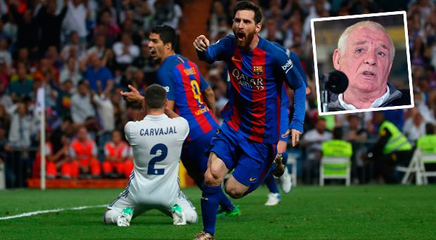 Lionel Messi celebrates winner against Real Madrid and (inset) Eamon Dunphy