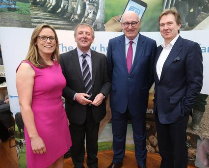Margaret Donnelly, Farm Ireland Editor, Michael Creed, Minister for Agriculture, Phil Hogan, Eu Commissioner, and Stephen Rae, Group Editor-in-Chief, Independent News & Media at the launch of Farm Ireland. Photo: Damien Eagers