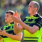 Leinster players Devin Toner and Ross Molony applaud their supporters after the defeat to Clermont on Sunday. Photo: Sportsfile
