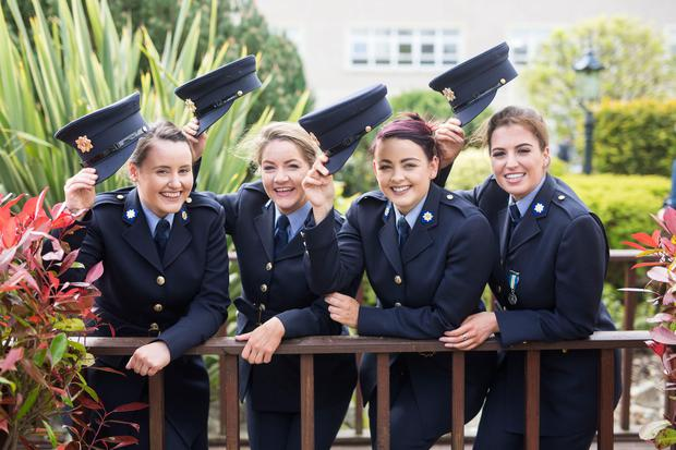 Hats off to new gardaí Aedin Esslemont from Connemara (to be stationed in Navan), Shauna Byrne from Co Wicklow (Dundrum station), Alma McGovern from Co Monaghan (Mountjoy station) and Erica Delaney from Roscommon (Clondalkin station). Picture: Brian Arthur