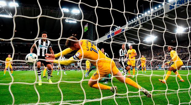 Preston's Paul Gallagher handles on the line to give away a second-half penalty. Photo: Stu Forster/Getty Images