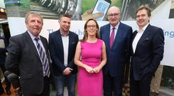 Agriculture Minister Michael Creed, Irish Independent columnist Tomás O Sé, FarmIreland.ie Editor Margaret Donnelly, EU Commissioner Phil Hogan and INM Group Editor-in-Chief Stephen Rea at the FarmIreland.ie launch. Picture: Damien Eagers