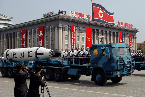 A North Korean navy truck carries the 'Pukkuksong' submarine-launched ballistic missile during a military parade marking the 105th birth anniversary of country's founding father, Kim Il Sung in Pyongyang