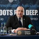 Jim Mulligan, GRA Deputy President, Ciaran O'Neill, GRA President and Robert Peelo, GRA Acting Deputy General Secretary, at the GRA Press Conference, ahead of the GRA's 39th Annual Delegate Conference, Salthill Hotel, Galway. Picture: Conor Ó Mearáin