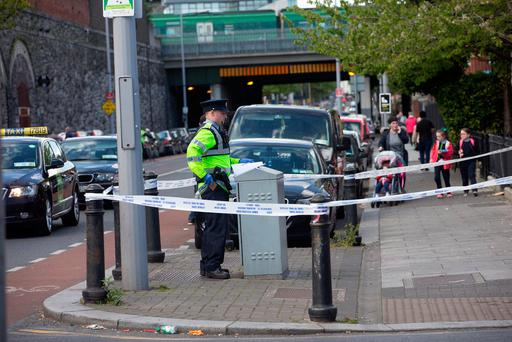 Garda at the scene of the incident at Seville Place. Photo: Tony Gavin