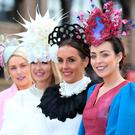 Emma Curtis, from Monaghan, Grace Ryan, Tipperary, Colette Ryan, Tipperary and Caroline McDonald, Monaghan at the first day of the Punchestown Races. Picture: Damien Eagers