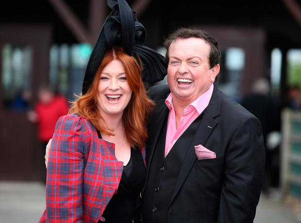 Marty Morrissey, and Blathnaid Ni Chofaigh at the first day of the Punchestown Races. Picture: Damien Eagers