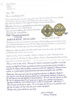 Letter written by Nancy Dempsey to Ray D'Arcy show on RTÉ's Radio One (Image: RTÉ)
