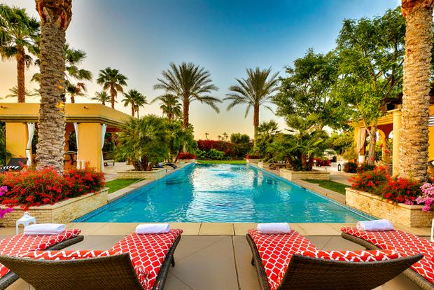 A resort style pool at the desert mansion visited by Lady Gaga during her time at Coachella. Photo: Airbnb