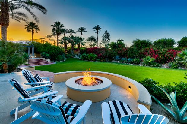 A fire-pit at the desert mansion visited by Lady Gaga during her time at Coachella. Photo: Airbnb