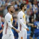 (L-R) Sergio Ramos of Spain, Gerard Pique of Spain during the UEFA Euro 2016 round of 16 match between Italy and Spain on June 27, 2016 at the Stade de France in Paris, France.(Photo by VI Images via Getty Images)