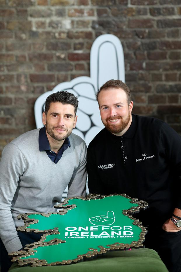 Bernard Brogan,member of Aware's Board of Directors and Irish professional golfer Shane Lowry were in Dublin to officially launch the One for Ireland Campaign taking place throughout the May Bank Holiday weekend (Friday 28th April to Monday 1st May). Customers around the country will be asked to add €1 to their bill at the till at retailers nationwide along with restaurants, cafés, hotels, pharmacies and hairdressers to raise money for youth mental health. People can also donate online at www.oneforirleland.ie. PIC: MAXWELLPHOTOGRAPHY.IE
