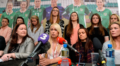 4 April 2017; Stephanie Roche, centre, of the Republic of Ireland Women's National Team speaks alongside team-mates, seated from left, captain Emma Byrne, Aine O'Gorman, and Ethel Buckley, left, SIPTU Services Division, during a women's national team press conference at Liberty Hall in Dublin. Photo by Cody Glenn/Sportsfile