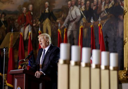 U.S. President Donald Trump delivers the keynote address at the U.S. Holocaust Memorial Museum's