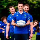 Sexton with Jack McGrath (left) and Sean O'Brien at the launch of the Bank of Ireland Leinster Rugby summer campsare. Photo by David Fitzgerald/Sportsfile