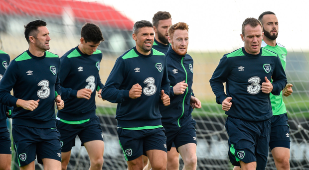 30 August 2016; Jonathan Walters with Robbie Keane and Glenn Whelan of Republic of Ireland during squad training at the National Sports Campus in Abbottown, Dublin. Photo by David Maher/Sportsfile