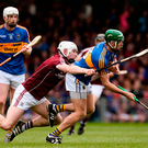 Noel McGrath of Tipperary and Galway's Joe Canning in action in the Allianz NHL final with Tipp's Michael Breen in close attendance Photo: Diarmuid Greene/Sportsfile