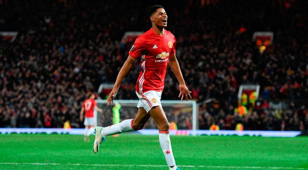 Manchester United's Marcus Rashford celebrates after scoring last week's injury-time winner over Anderlecht in the Europa League Photo: OLI SCARFF/AFP/Getty Images