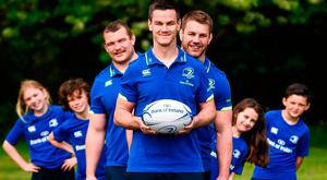 The Bank of Ireland Leinster Rugby Camps were launched by Leinster Rugby stars Jonathon Sexton, Sean O'Brien and Jack McGrath at a pop up training session in St Mary's National School, Ranelagh yesterday. Photo by David Fitzgerald/Sportsfile