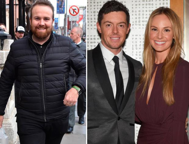 Shane Lowry, left, and Rory McIlroy and wife Erica Stoll, right