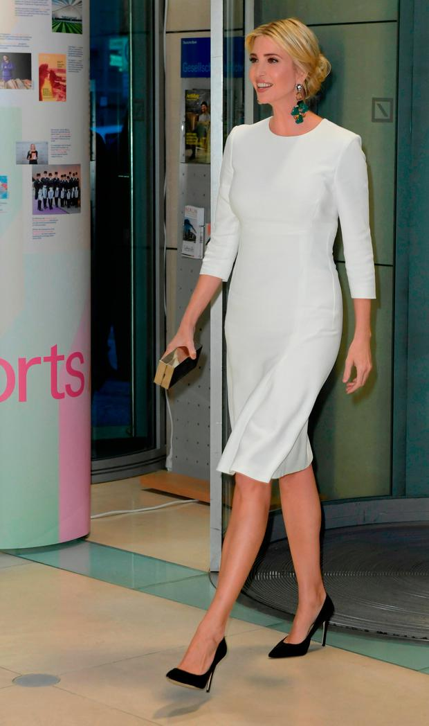 Ivanka Trump, daughter of U.S. President Donald Trump, arrives at a Gala Dinner at Deutsche Bank within the framework of the W20 summit on April 25, 2017 in Berlin, Germany