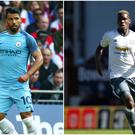 Sergio Aguero (left) and Paul Pogba (right).