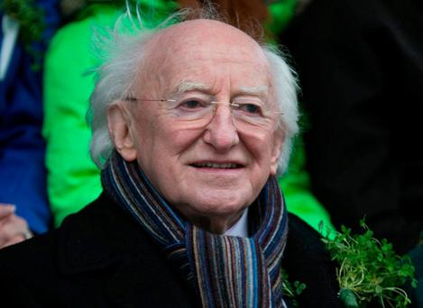 Pictured: President Michael D Higgins casually chatting to ...